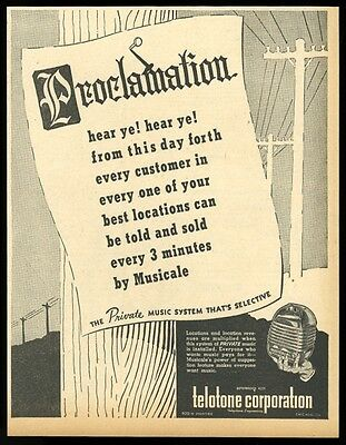 1946 Telotone Mucicale private music system vintage trade print ad