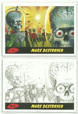 2017 Topps Mars Attacks Revenge 55 Card Painted & Pencil Sets 110 Cards Total