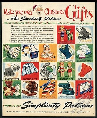 1944 Simplicity sewing patterns doll clothes stuffed animals etc Xmas vintage ad