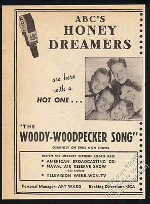 1948 The Honey Dreamers photo The Woody Woodpecker Song vintage print ad