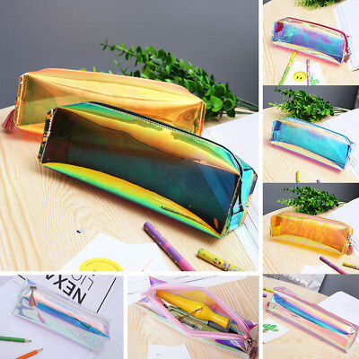 Iridescent  Colourful Pencil Case Zippered Pen Bag Makeup Storage Bags