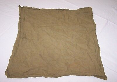 WWII US OD Cotton Handkerchief 15in x 15in stained small holes used each E5099
