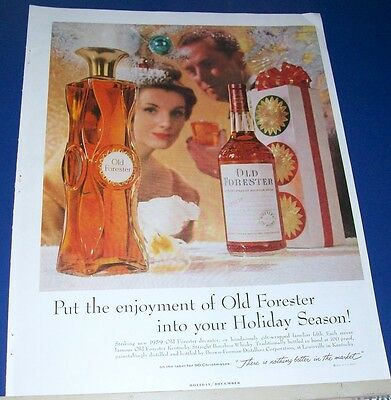 1959 striking new Old Forester Christmas Decanter Kentucky Whisky Ad