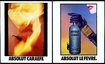 1990 Absolut Eddie J. Caraeff AND Clayton LeFevre vodka bottle vintage print ad
