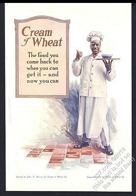 1918 Cream of Wheat cereal Rastus classic art Edw V Brewer art vintage print ad