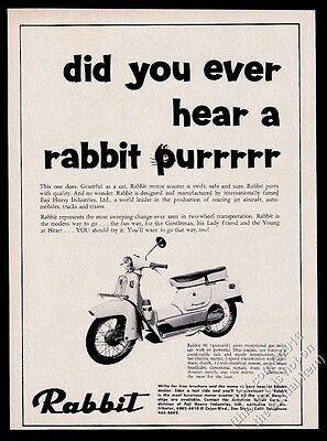 1965 Rabbit scooter moped photo Ever Hear A Rabbit Purr vintage print ad