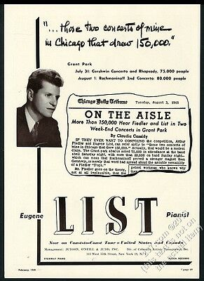 1949 Eugene List photo piano recital tour booking trade ad