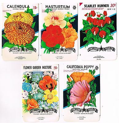 Genuine 5 Vintage Seed Packet Lot Nos C1940 Flowers Garden Texas General Store