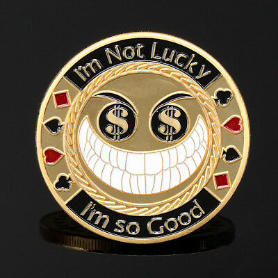Gold Lucky Smiling Face Poker Guard Card Protector Coin Chip Gold Plated w/ Case