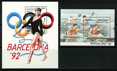 Laos, 2 Hojas Bloque, The Olympic - Barcelona 1992