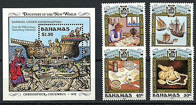 Bahamas, 4 Sellos Y Hoja Bloque, V Centenary Discovery Of America,  Barcos