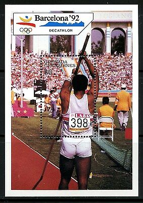 Grenada, Sello Y Hoja Bloque, The Olympic - Barcelona 1992, Decathlon