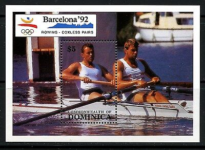 Dominica, Hoja Bloque, The Olympic - Barcelona 1992,  Barcos
