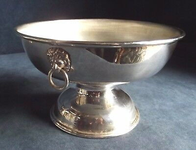 """SUPERB 8"""" ~ SILVER Plated ~ GEORGIAN Styled ~ LIONS Head ~ BOWL ~ c1960"""