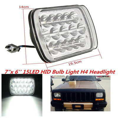 """7""""X6'' 15LED HID Bulb Crystal Clear Sealed High/Low Beam Headlights For Car Jeep"""