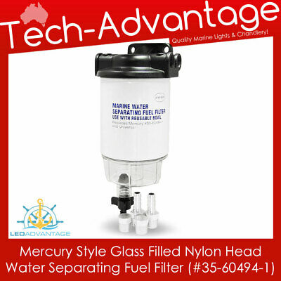 Universal Boat Mercury Water Separating Fuel Filter Kit & Clear Bowl With Drain