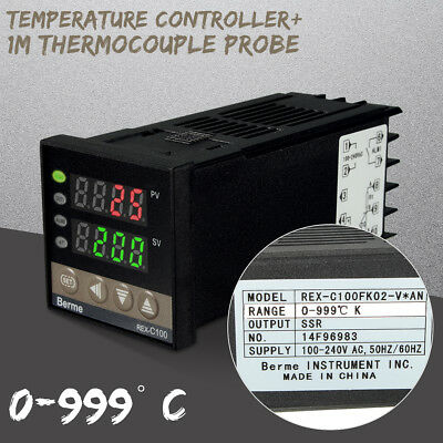 110V Digital PID Temperature Controller+ Max.40A SSR+K Thermocouple Probe Sensor