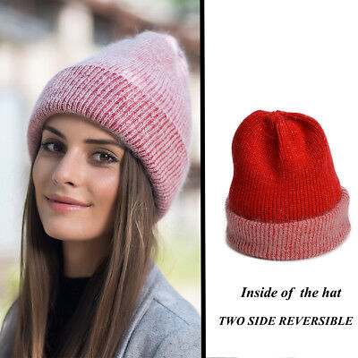 Reversible Womens Winter Chunky Hats Knit Angora Beanies Skull Slouchy Baggy Y88
