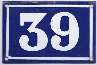 Old blue French house number 39 door gate plate plaque enamel metal sign steel