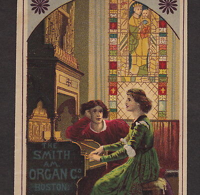 Smith American Organ Boston Church Stained Glass 1880's Advertising Trade Card