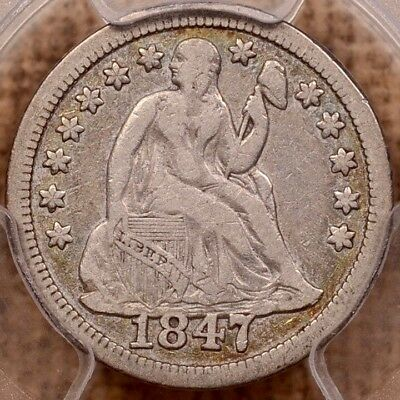 1847 F-101 Date Overlaps Base Seated Dime, PCGS F15, popular  DavidKahnRareCoins
