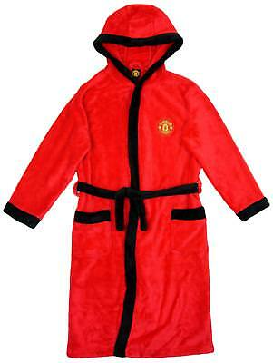 Boys Man Utd MANCHESTER UNITED MUFC Hooded Fleece Dressing Gown 3 to 12 Years