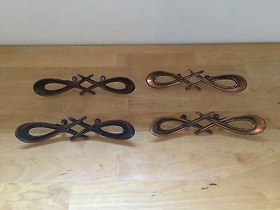 4 Large Vintage Copper Brass Plated Metal Retro Drawer Pulls Cabinet Door Handle