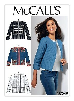 McCalls SEWING PATTERN M7549 Misses Jackets 6-14 Or 14-22