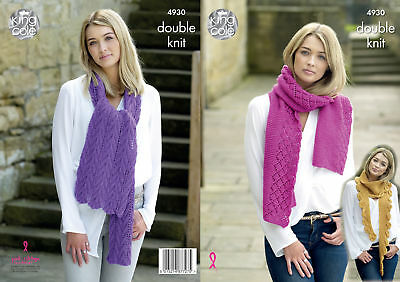 Womens Scarf Knitting Pattern Ladies Winter Scarves King Cole Double Knit 4930