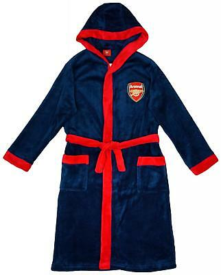 Boys Official Arsenal FC Gunners Hooded Dressing Gown Bath Robe 3 to 12 Year