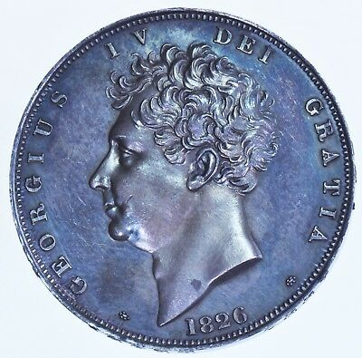 EXTREMELY FINE 1826 PROOF CROWN, BRITISH SILVER COIN FROM GEORGE IV aFDC