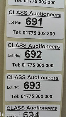 Personalised Bespoke Auction Number Lot Labels Stickers on ROLL sequential