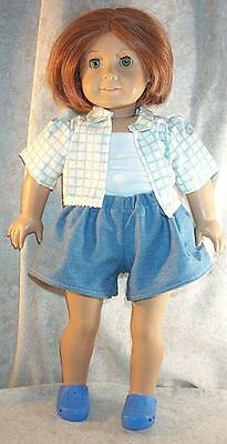 """Doll Clothes Made 2 Fit American Girl 18"""" inch Short Set Tank Top Shirt Denim 3"""