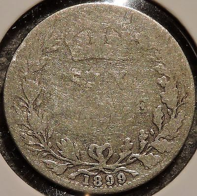 British Silver Sixpence - 1899 - Victoria - $1 Unlimited Shipping
