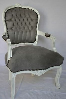 Pair of Louis XV style armchairs - grey velvet/white wood