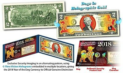 2018 Chinese New Year U.S. Genuine $2 Bill YEAR OF THE DOG Gold Hologram - Blue