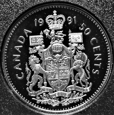 1991 Canadian/canada 50 Cent Coin Unc Frosted Proof