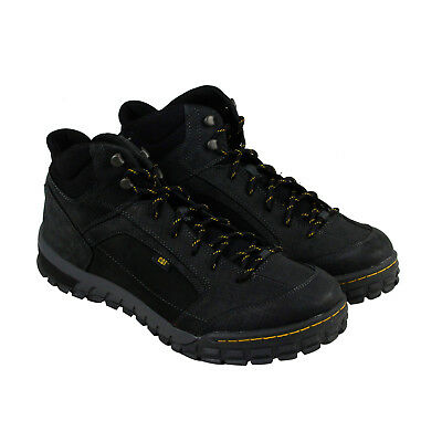 Cat Sentinel Mid Mens Black Leather Casual Dress Lace Up Boots Shoes