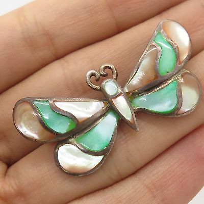 Signed Vintage 925 Sterling Silver Real Mother-Of-Pearl Buterfly Pin Brooch