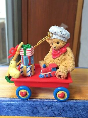 CHERISHED TEDDIES CHRISTMAS ORNAMENT BEAR in Wagon Retired New in Box
