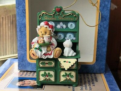 CHERISHED TEDDIES CHRISTMAS ORNAMENT BEAR on Cabinet Retired 406481 New in Box