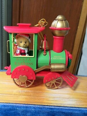 CHERISHED TEDDIES CHRISTMAS ORNAMENT BEAR in Train Retired 401196 New in Box