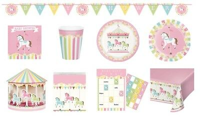 CAROUSEL BABY SHOWER Range NEW Tableware Balloons Decorations Supplies