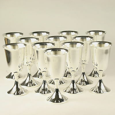 J.E. Caldwell Set of 12 Silver Wine Water Goblets Sterling Hollowware 6 11/16""