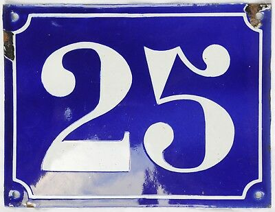 Large old French house number 128 door gate plate plaque enamel steel metal sign