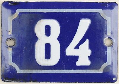 Cute old blue French house number 84 door gate plate plaque enamel steel sign