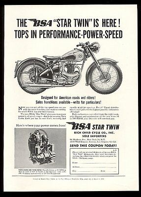 1949 BSA motorcycle Star Twin and engine photo vintage print ad