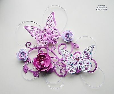 3D  FLOWER, BUTTERFLY AND WIRE CARD TOPPER  GEN 12-1 Pink