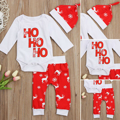 Christmas Newborn Infant Baby Boy Girl Snowflake Romper Pants Outfit Set Clothes