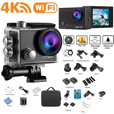 Ultra 4K Sports Action Camera 16MP HD 1080P Waterproof WiFi Camcorder Go As Pro